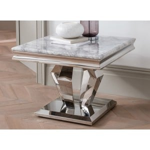 Vida Living Arturo Grey Marble and Chrome Lamp Table