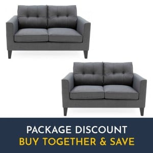 Vida Living Astrid Charcoal 2 Seater Sofa Set x 2