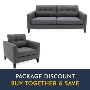 Vida Living Astrid Charcoal 3 Seater Sofa & Armchair Set