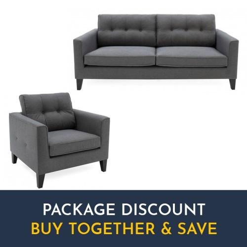 Vida Living Astrid Charcoal 3 Seater Sofa & Armchair Set