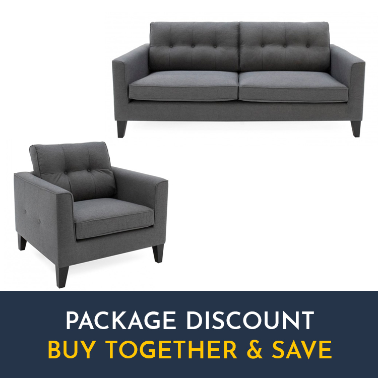 Awe Inspiring Vida Living Astrid Charcoal 3 Seater Sofa Armchair Set Dailytribune Chair Design For Home Dailytribuneorg