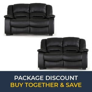 Vida Living Barletto Black 2 Seater Fixed Sofa Set x 2