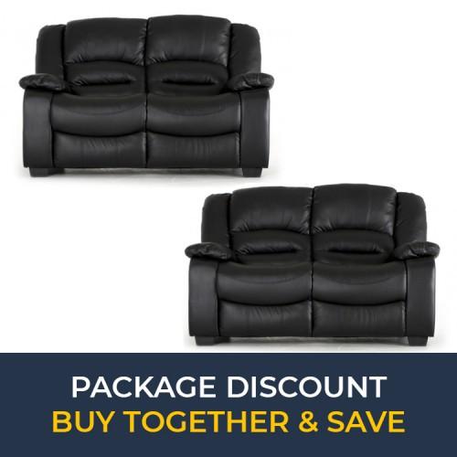 Vida Living Furniture BarlettoBlack Leather 2 Seater Fixed SofaSet x 2