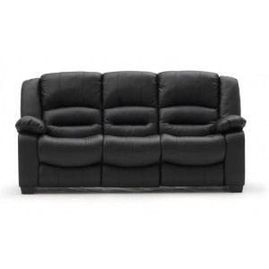Vida Living Furniture Barletto Black Leather 3 Seater Fixed Sofa