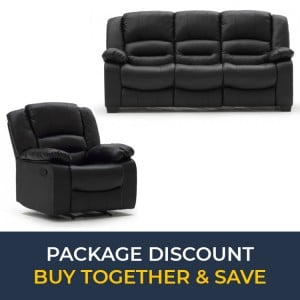 Vida Living Barletto Black 3 Seater Fixed Sofa & Recliner Armchair