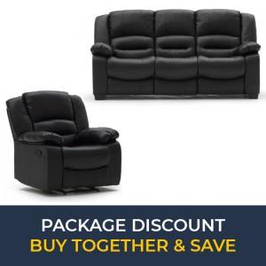 Vida Living Furniture BarlettoBlack Leather 3Seater Fixed SofaandRecliner Armchair