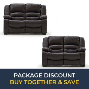Vida Living Barletto Brown 2 Seater Fixed Sofa Set x 2