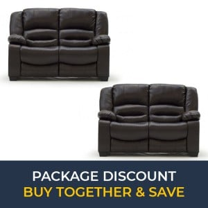 Vida Living Furniture BarlettoBrown Leather 2 Seater Fixed SofaSet x 2