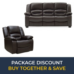 Vida Living Barletto Brown 3 Seater Fixed Sofa & Recliner Armchair