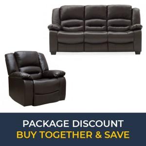 Vida Living Furniture BarlettoBrown Leather 3Seater Fixed SofaandRecliner Armchair