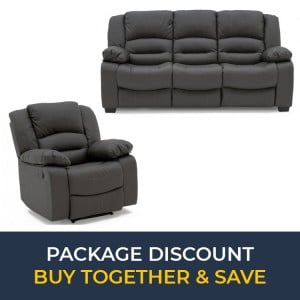 Vida Living Furniture BarlettoGrey Leather 3Seater Fixed SofaandRecliner Armchair