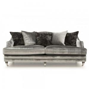Vida Living Belvedere 4 Seater Sofa Pewter Velvet