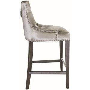 Vida Living Belvedere Knockerback Bar Chair Pewter Velvet