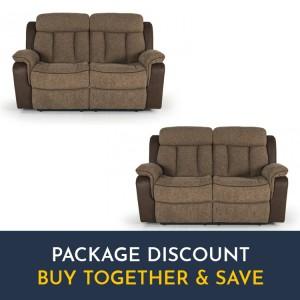 Vida Living Brampton Brown 2 Seater Recliner Sofa Set x 2