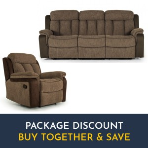Vida Living Brampton Brown 3 Seater Recliner Sofa & Armchair Set