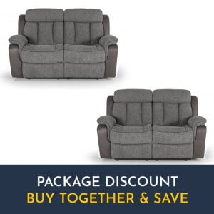 Vida Living Brampton Grey 2 Seater Recliner Sofa Set x 2