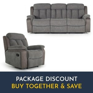 Vida Living Brampton Grey 3 Seater Recliner Sofa & Armchair Set