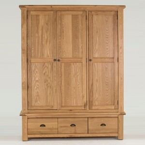 Vida Living Breeze Oak Furniture 3 Door Wardrobe