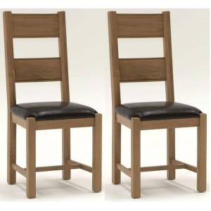 Vida Living Breeze Oak Furniture Dining Chair Brown - Pair