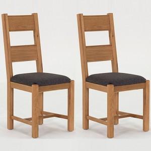Vida Living Breeze Oak Furniture Dining Chair Grey - Pair