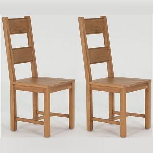 Vida Living Breeze Oak Furniture Dining Chair Solid Seat - Pair