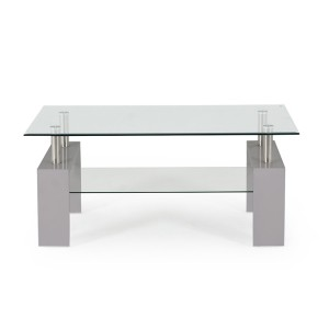 Vida Living Calico High Gloss & Glass Grey Coffee Table