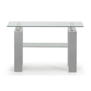 Vida Living Calico High Gloss & Glass Grey Console Table