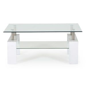 Vida Living Calico High Gloss & Glass White Coffee Table