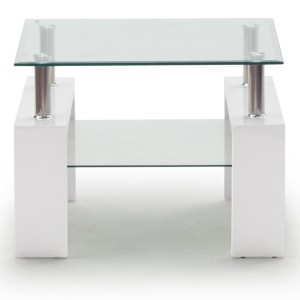 Vida Living Calico High Gloss & Glass White End Table