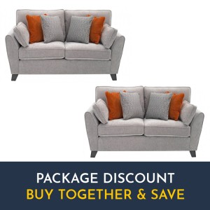 Vida Living Cantrell Silver 2 Seater Sofa Set x 2