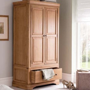 Vida Living Carmen Oak Furniture 2 Door 1 Drawer Wardrobe