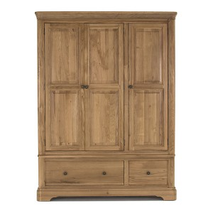 Vida Living Carmen Oak Furniture 3 Door 2 Drawer Wardrobe