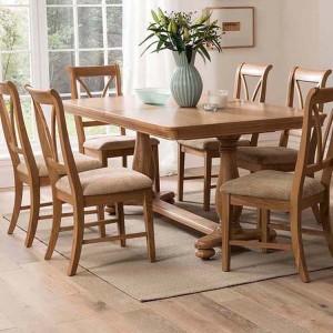 Vida Living Carmen Oak Furniture Dining Chair Pair
