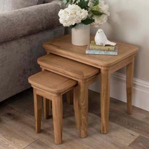 Vida Living Carmen Oak Furniture Nest of Tables