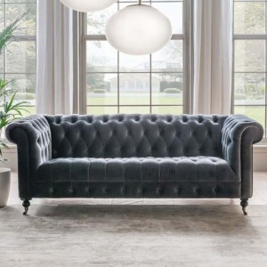 Vida Living Darby 2 Seater Sofa In Grey Velvet