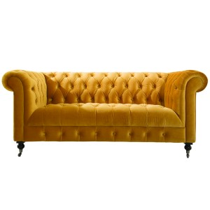 Vida Living Darby 2 Seater Sofa In Mustard Velvet