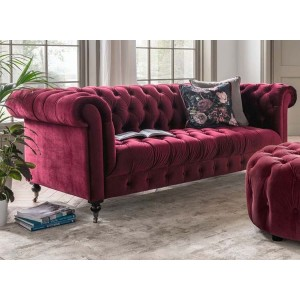 Vida Living Darby 3 Seater Sofa In Berry Velvet