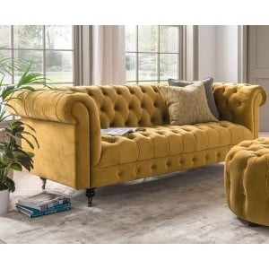Vida Living Darby 3 Seater Sofa In Mustard Velvet
