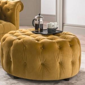 Vida Living Darby Round Footstool In Mustard Velvet