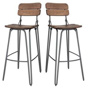 Vida Living Delta Bar Chair Rustic Elm Pair