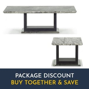 Vida Living Donatella Furniture Grey Marble Coffee & Lamp Table Set