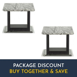Vida Living Donatella Furniture Grey Marble Lamp Table Set