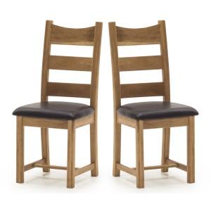 Vida Living Edmonton Oak Furniture Dining Chair With Brown Seat Pair