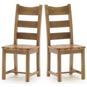 Vida Living Edmonton Oak Furniture Dining Chair With Solid Seat Pair