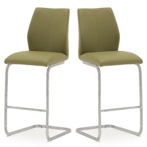 Vida Living Elis Bar Chair Olive Pair