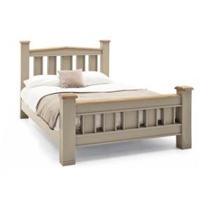 Vida Living Logan Taupe Painted & Oak 5ft Kingsize Bed