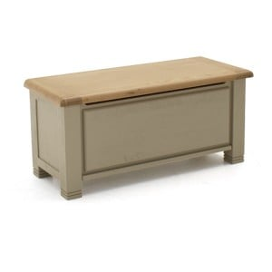 Vida Living Logan Taupe Painted & Oak Blanket Box