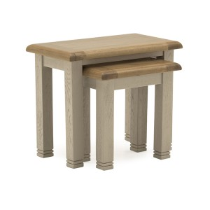 Vida Living Logan Taupe Painted & Oak Nest of Tables