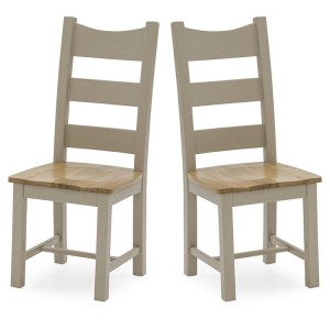 Vida Living Logan Taupe Painted & Oak Solid Seat Dining Chair Pair