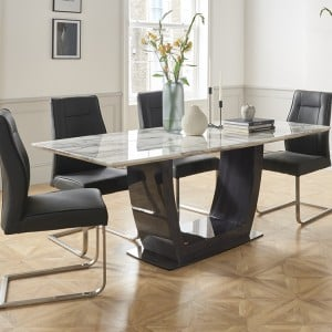 Vida Living Luciana High Gloss & Marble 160cm Dining Table